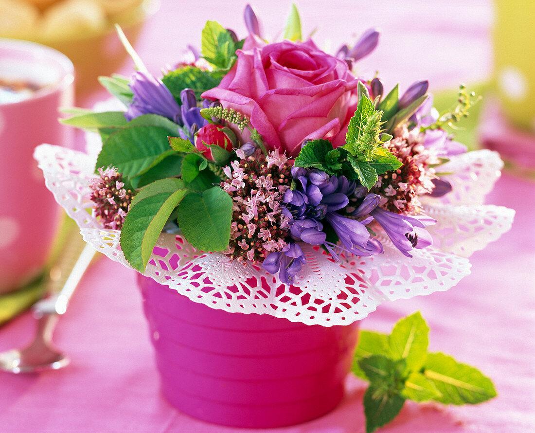 Pink (rose), Origanum (oregano)