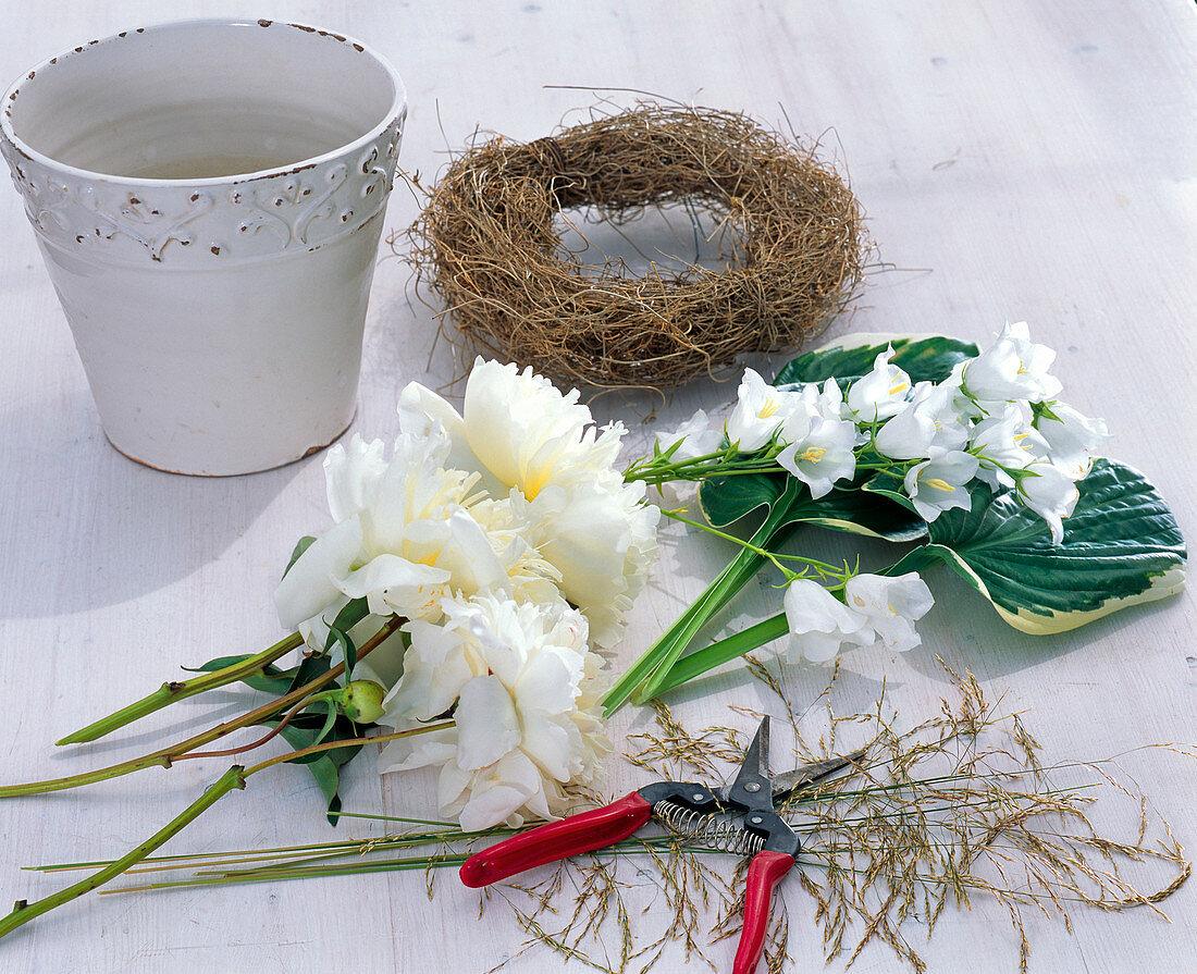 White arrangement of peonies