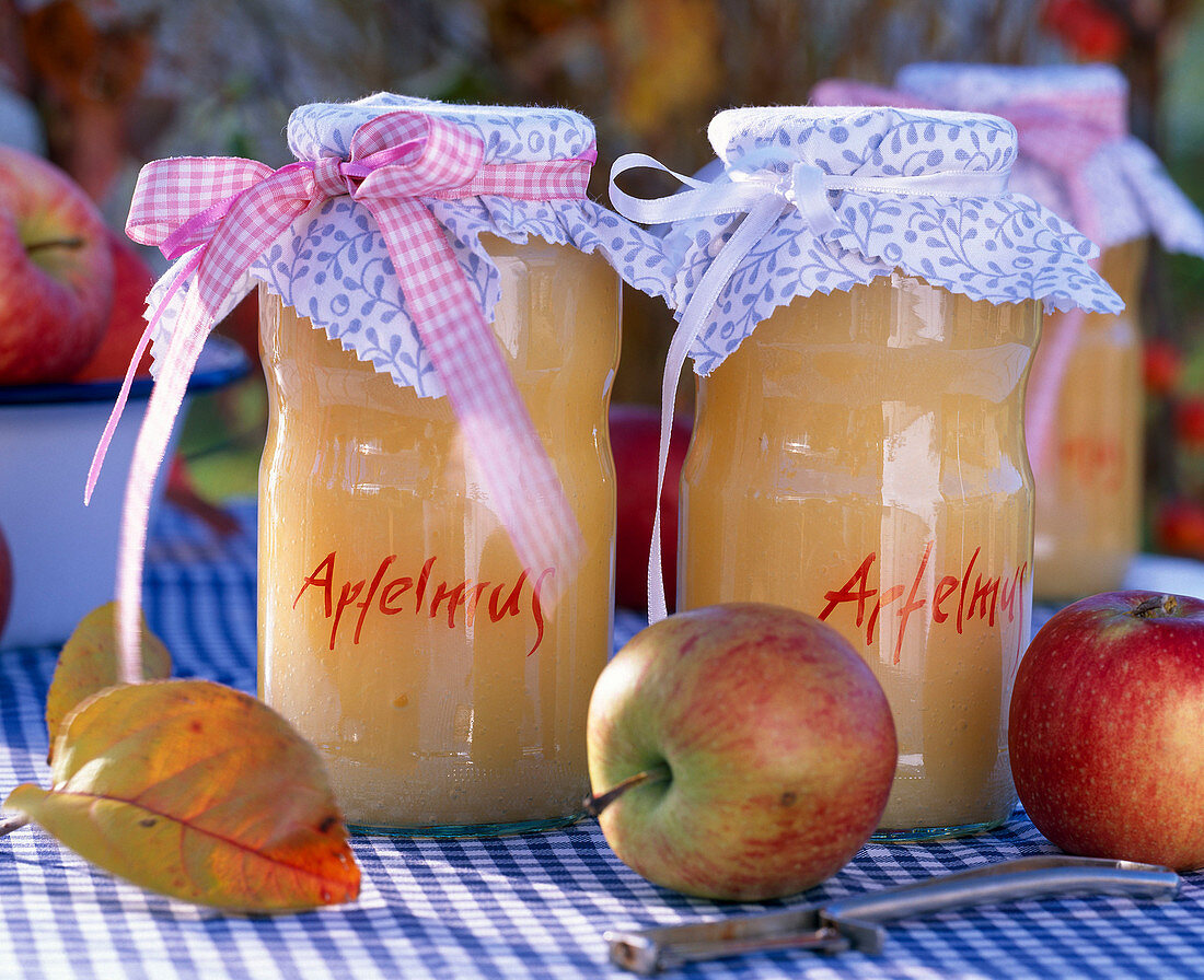 Malus (apple), leaves, applesauce with doily, paring knife