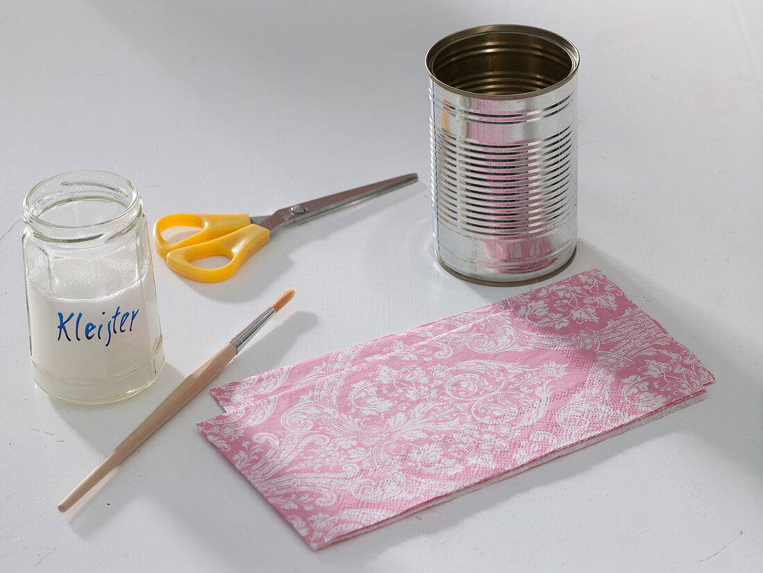 Tin Can With Pink Napkin Technique Buy Image 12149265 Living4media