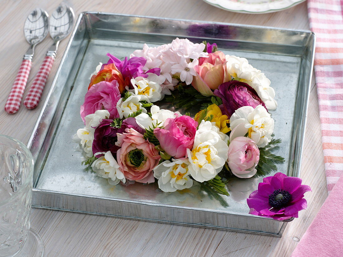 Wreath made of spring flowers