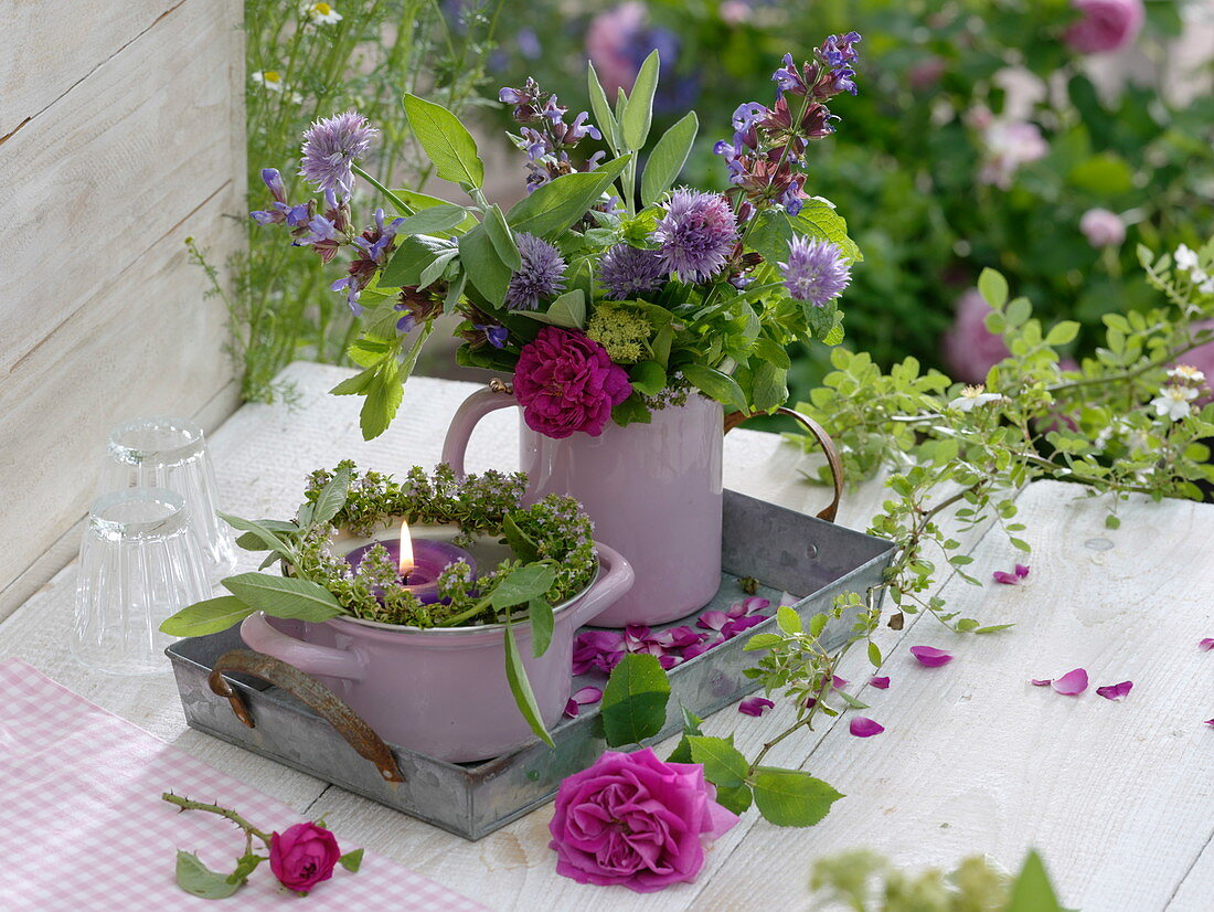 Bouquet and wreath of flowering herbs