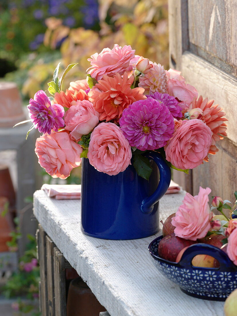 Blue pitcher with Dahlia and Roses