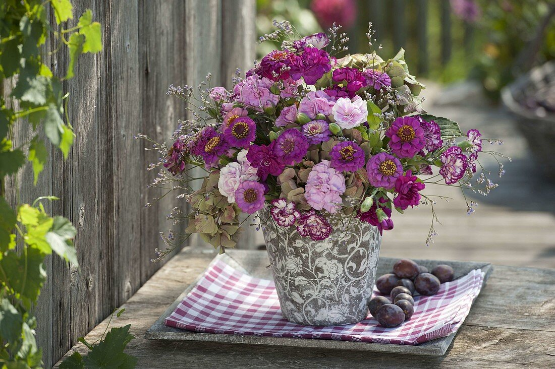 Fragrant late summer bouquet with Zinnia, Dianthus