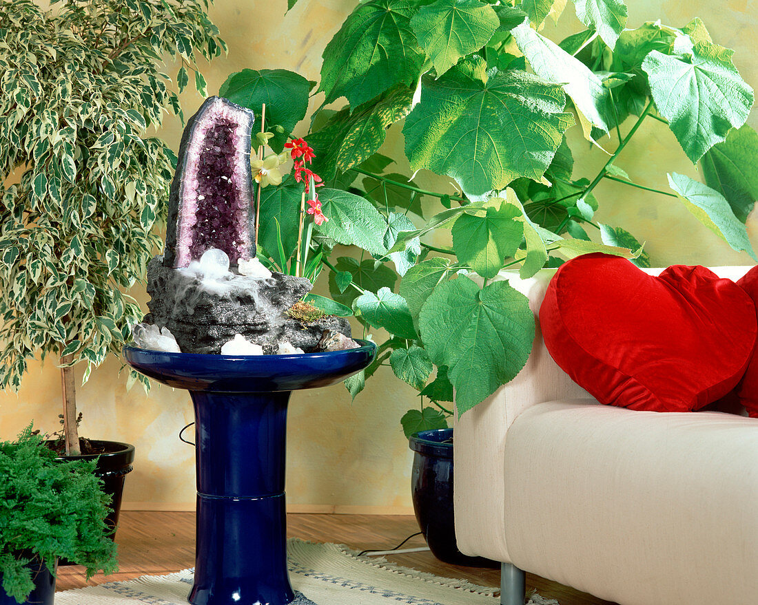 Indoor fountain with amethyst