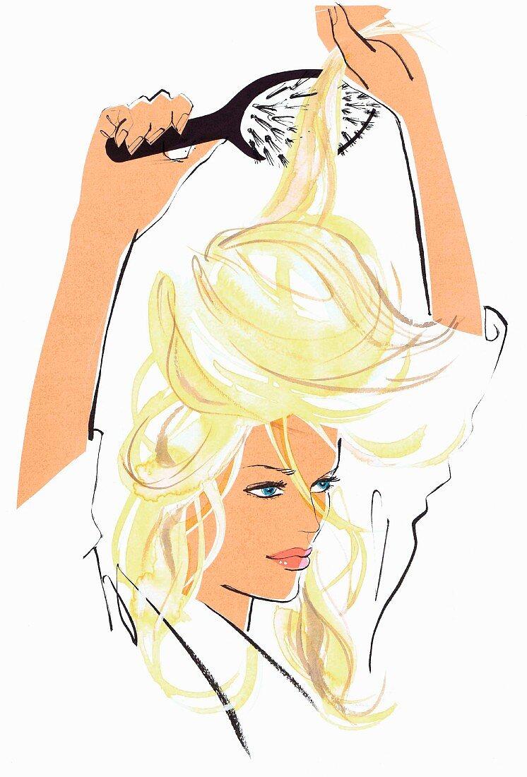 Close up of beautiful woman brushing hair