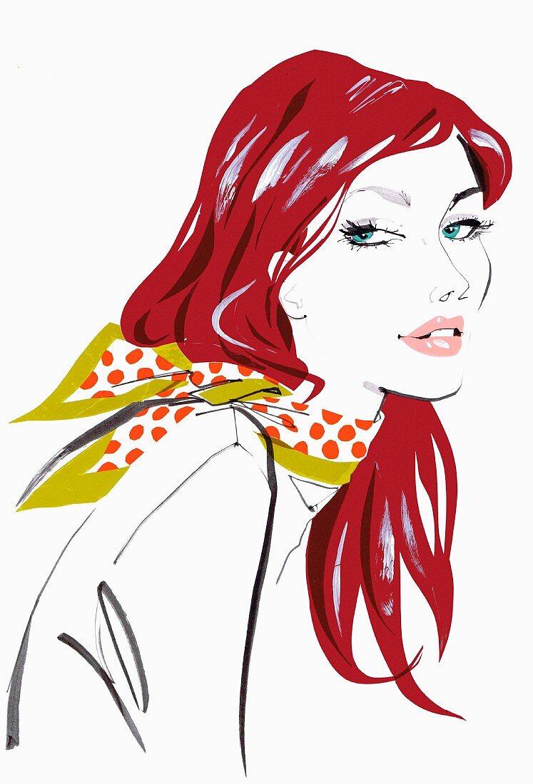 Close up beautiful woman wearing polka dot scarf