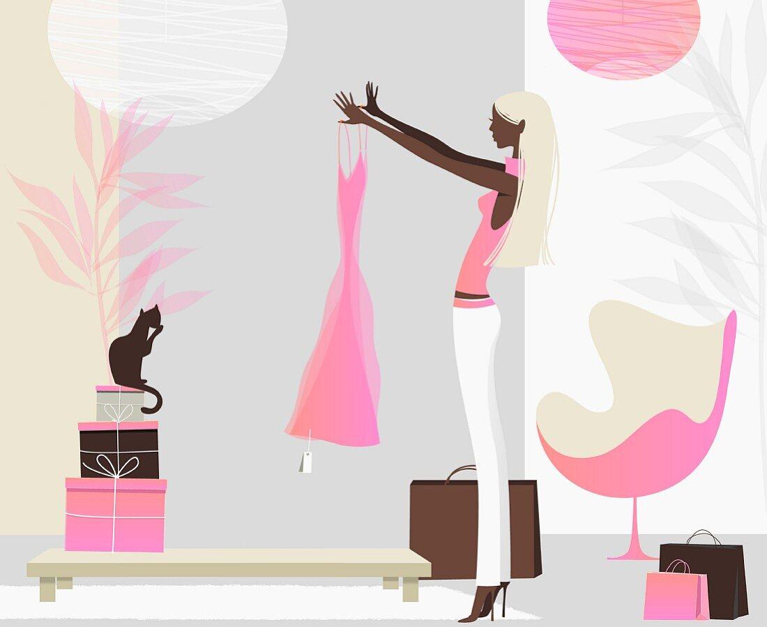 Frau bewundert ein neues Kleid in einem stylishen Wohnzimmer