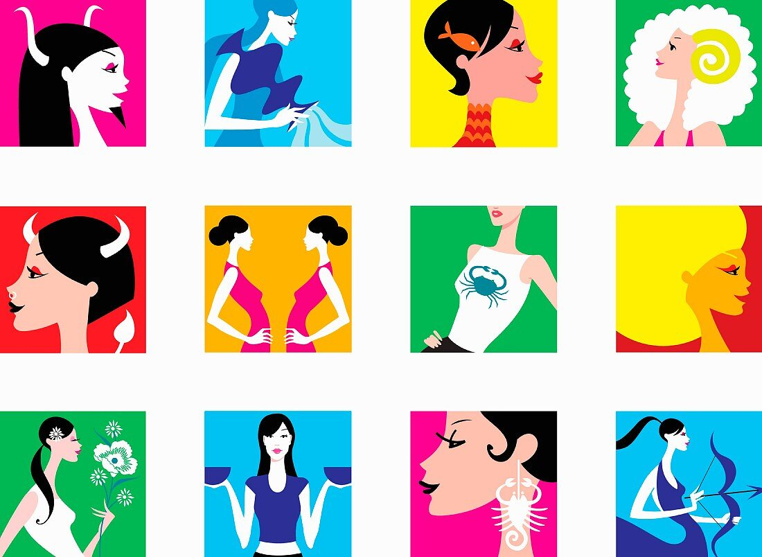 Montage of women representing signs of the zodiac