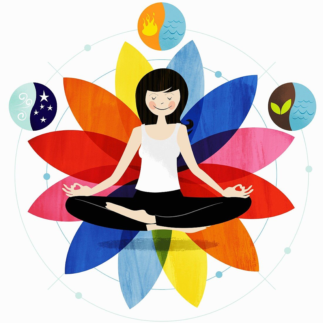 Smiling woman sitting in lotus position surrounded by harmony symbols