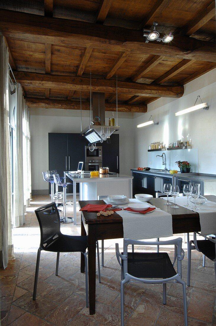 Image of: Modern Open Plan Kitchen Below Rustic Buy Image 11947685 Living4media