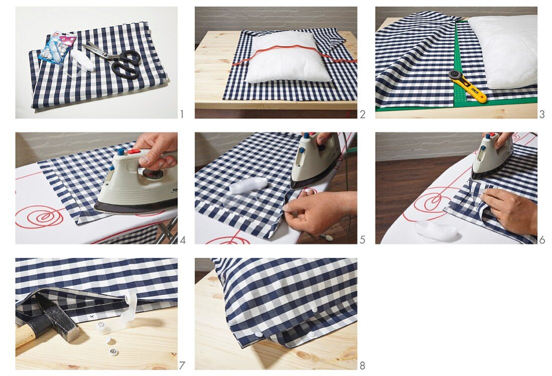 Instructions for making a blue-and-white, no-sew gingham cushion cover