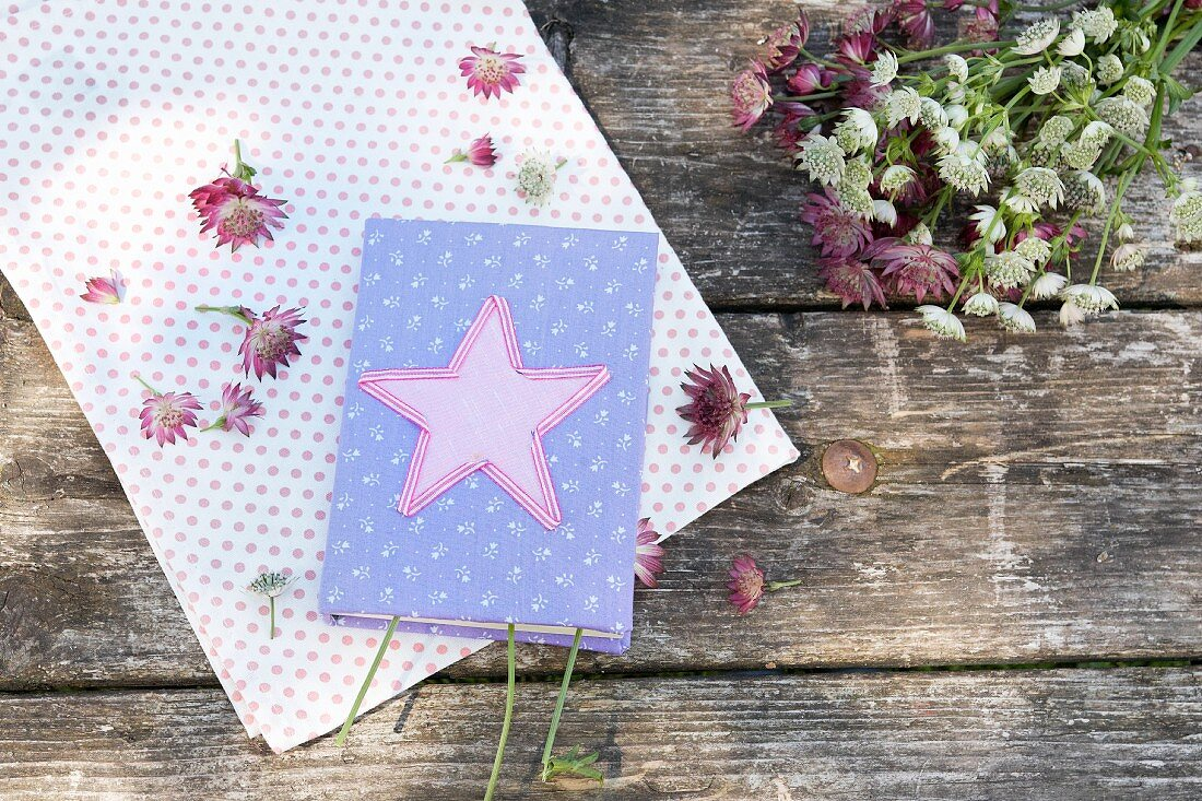 Books with appliqué star on hand-sewn cover