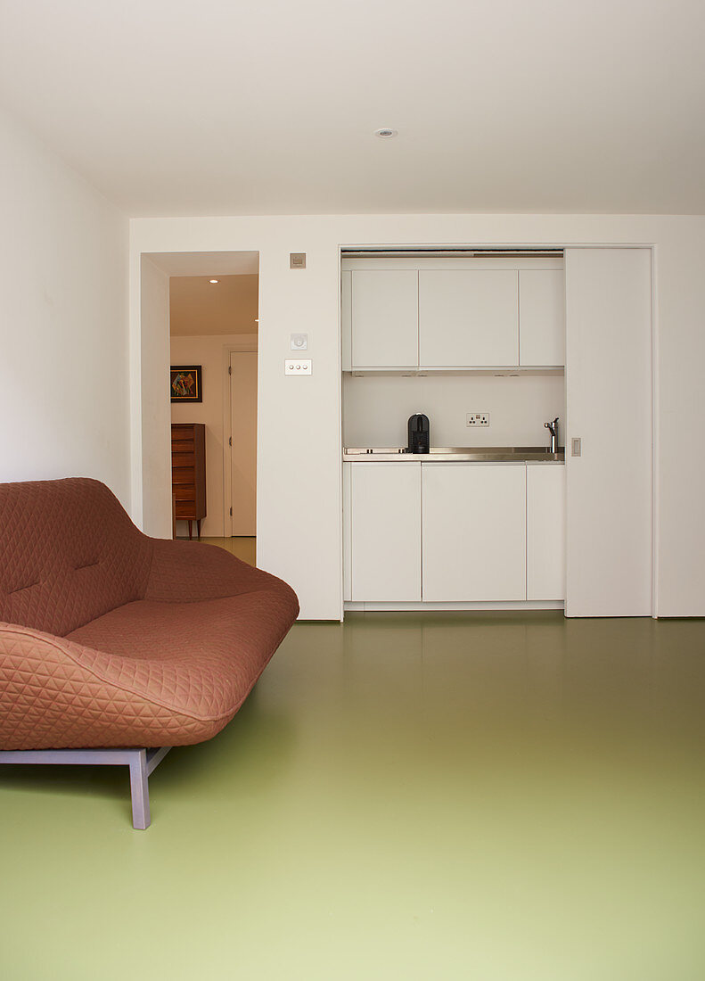 Brown sofa on green floor in front of kitchenette behind sliding doors
