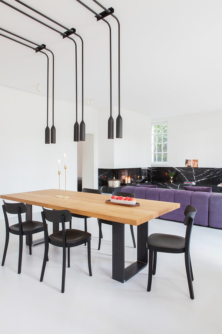 Pairs Of Pendant Lamps Above Dining Buy Image 12424363 Living4media