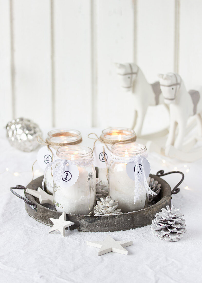 Hand-made Advent wreath in jars
