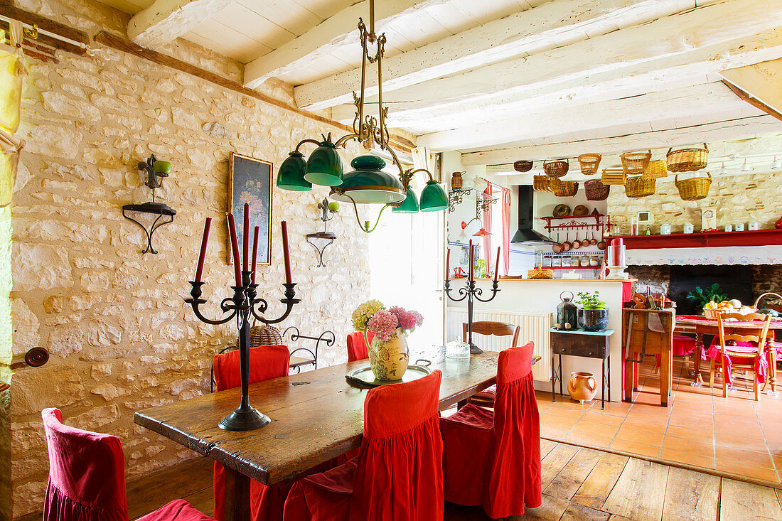 Mediterranean country-house interior with stone walls