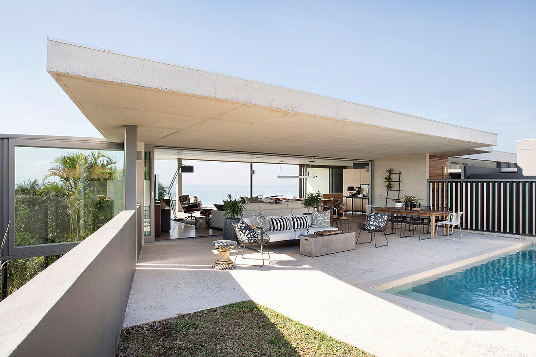 Modern, architect-designed house with projecting concrete roof