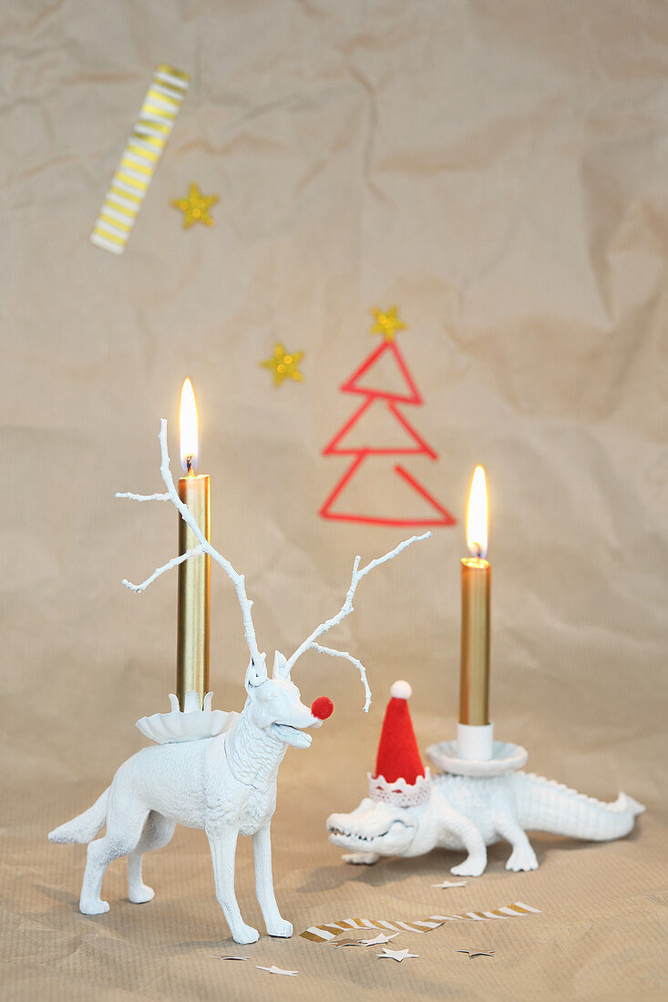 Plastic animals used as candle holders