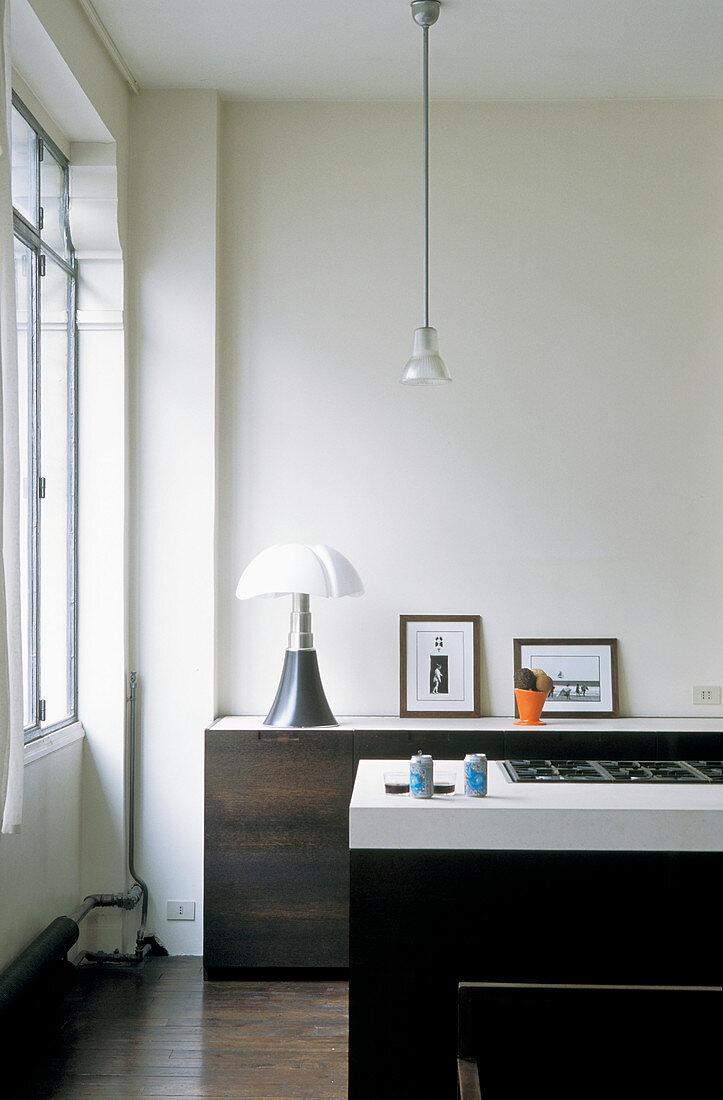 Dark cabinets in modern minimalist kitchen