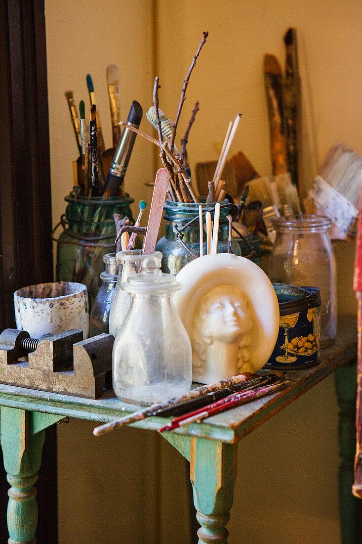 Work table in artist's studio