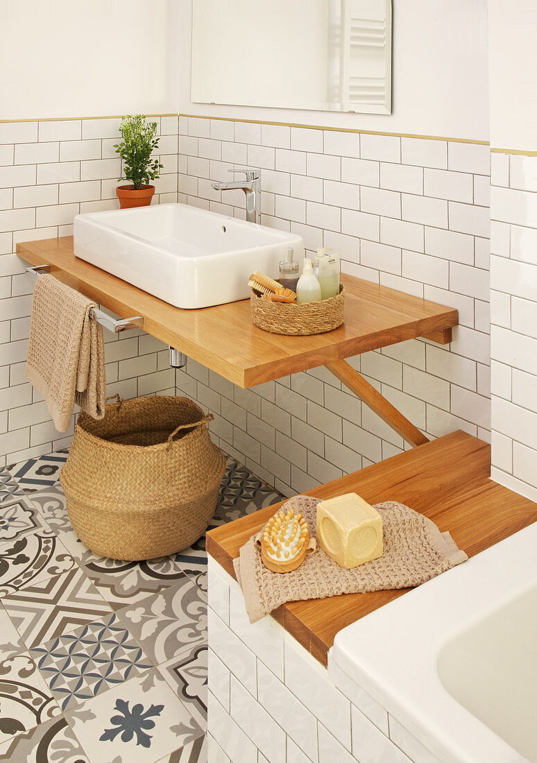 Wooden washstand and bathtub shelf
