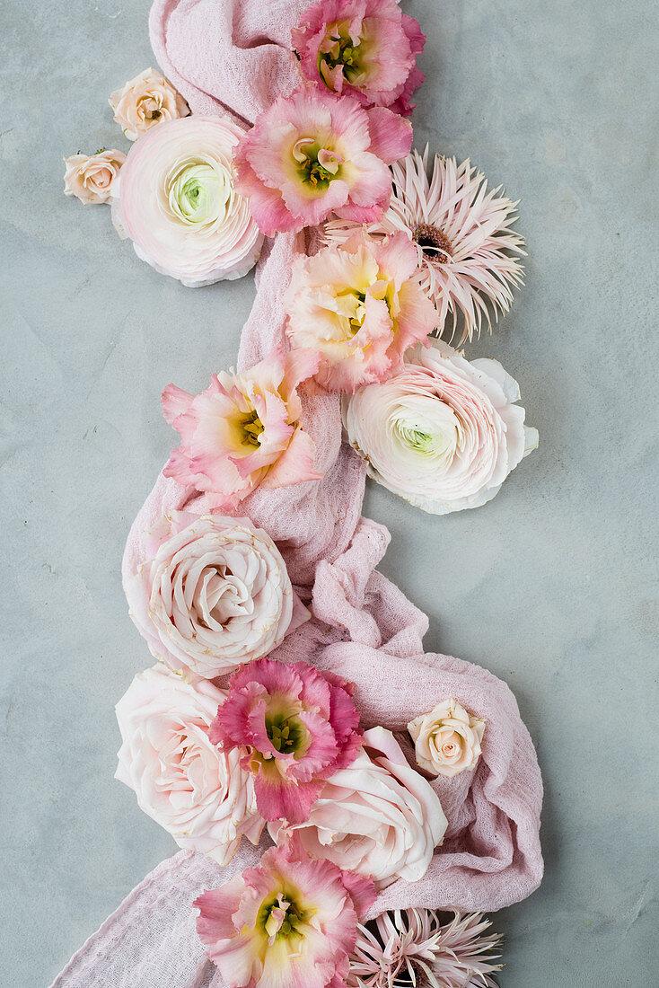 Arrangement Of Pink Flowers On Grey Buy Image 12462437 Living4media