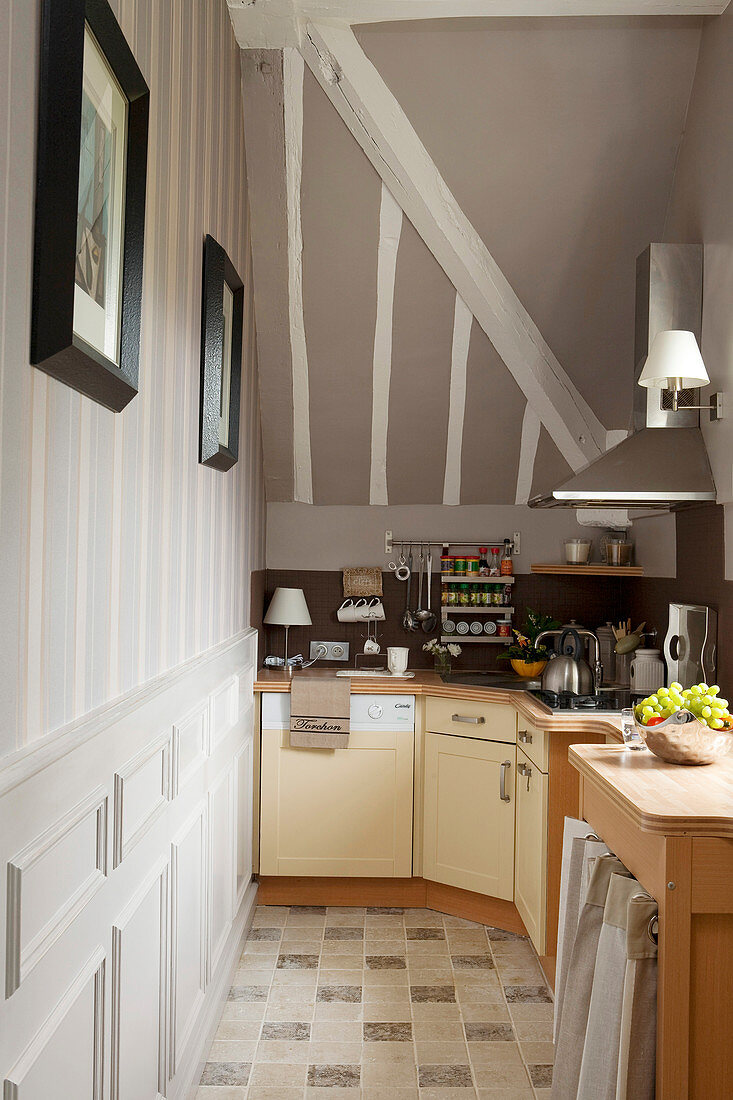 Base units in narrow kitchen with sloping ceiling