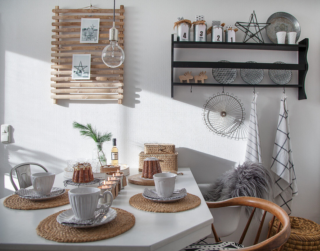 Table set for afternoon coffee with candle