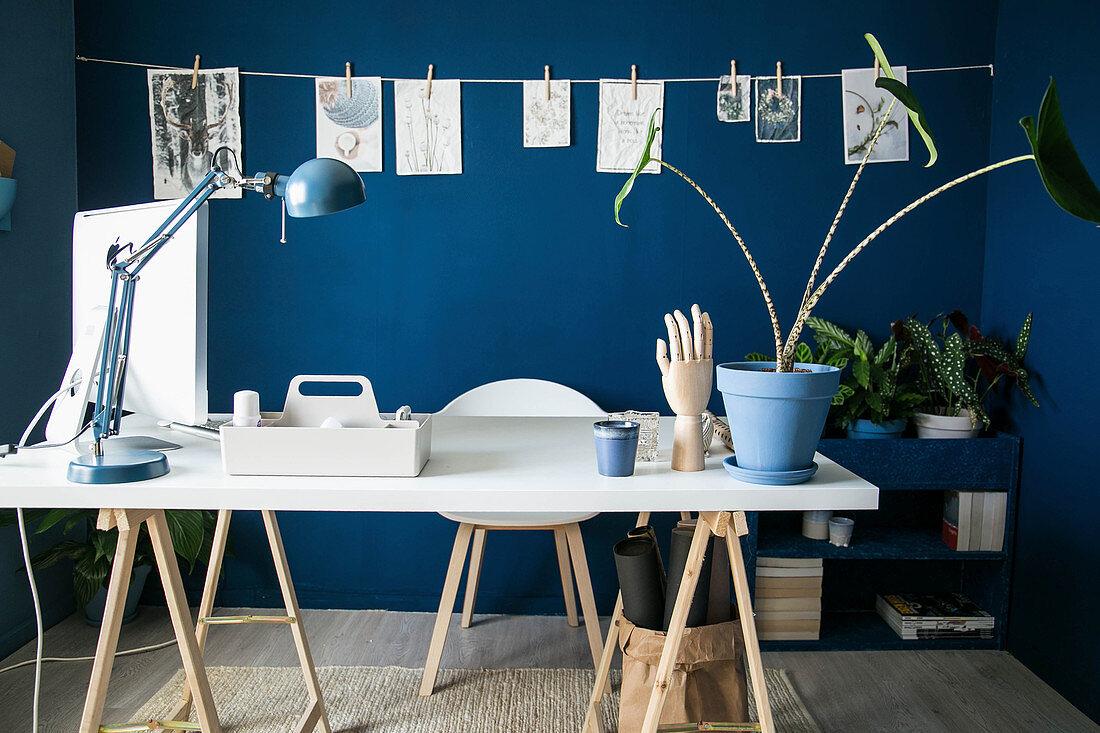 weiße Tischplatte auf Holzböcken im Arbeitszimmer mit blauer Wand