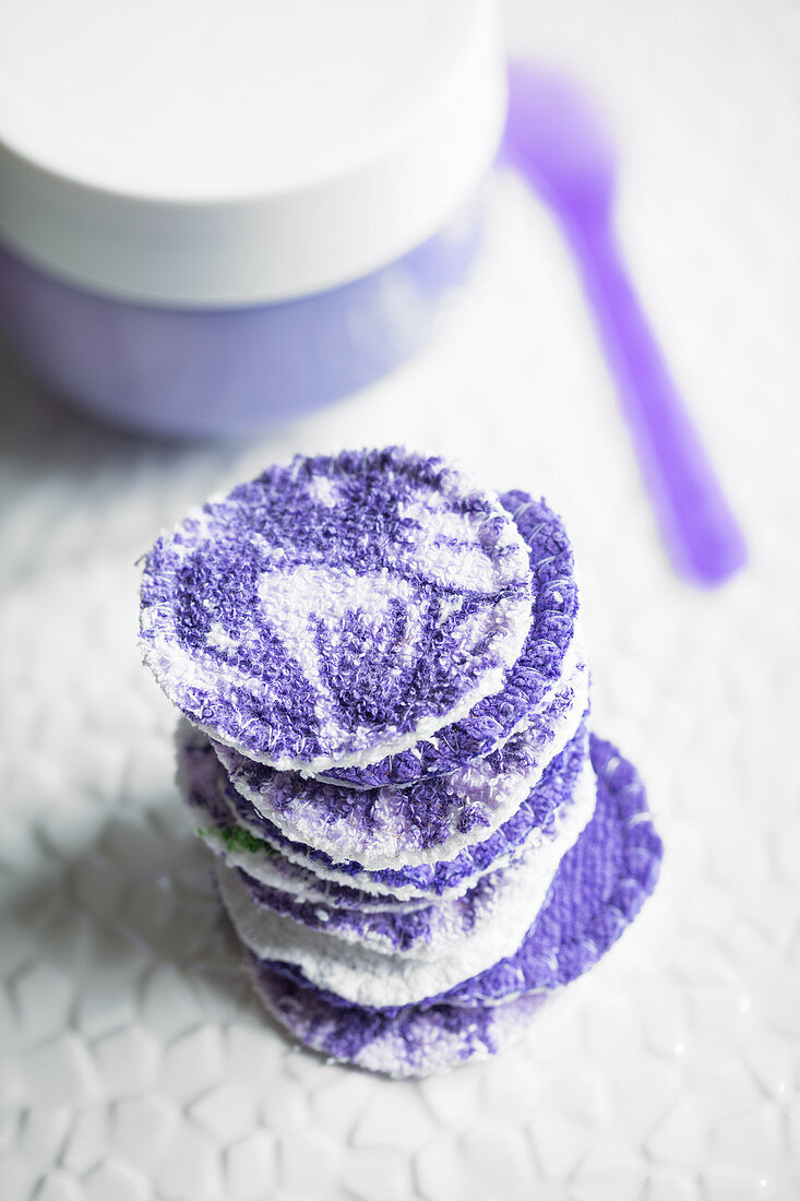 Facial cleansing pads hand-made from old towels