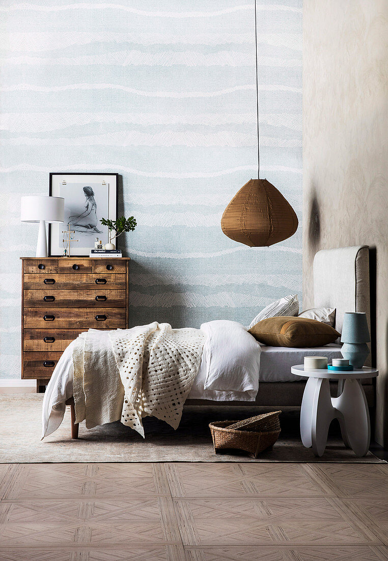 Natural bedroom in earth colors and light blue