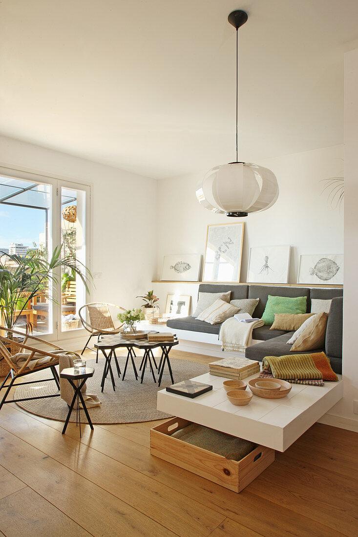 Masonry sofa in bright living room