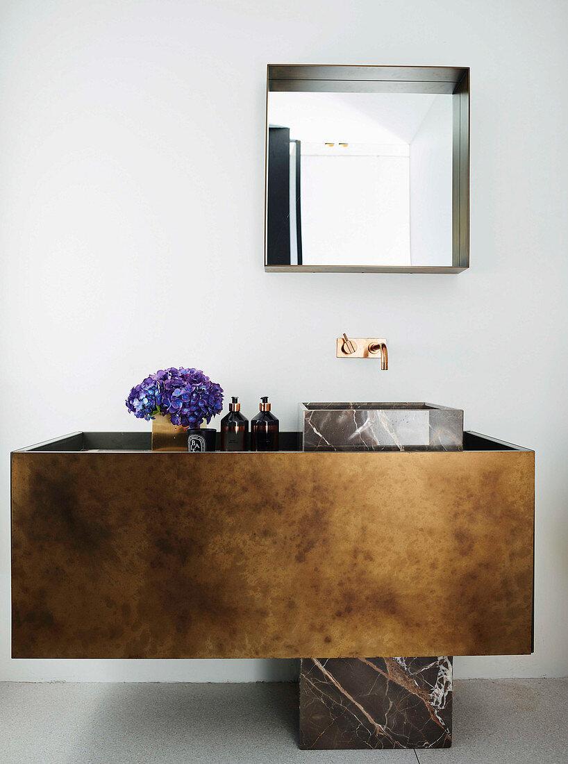 Designer sink in the bathroom