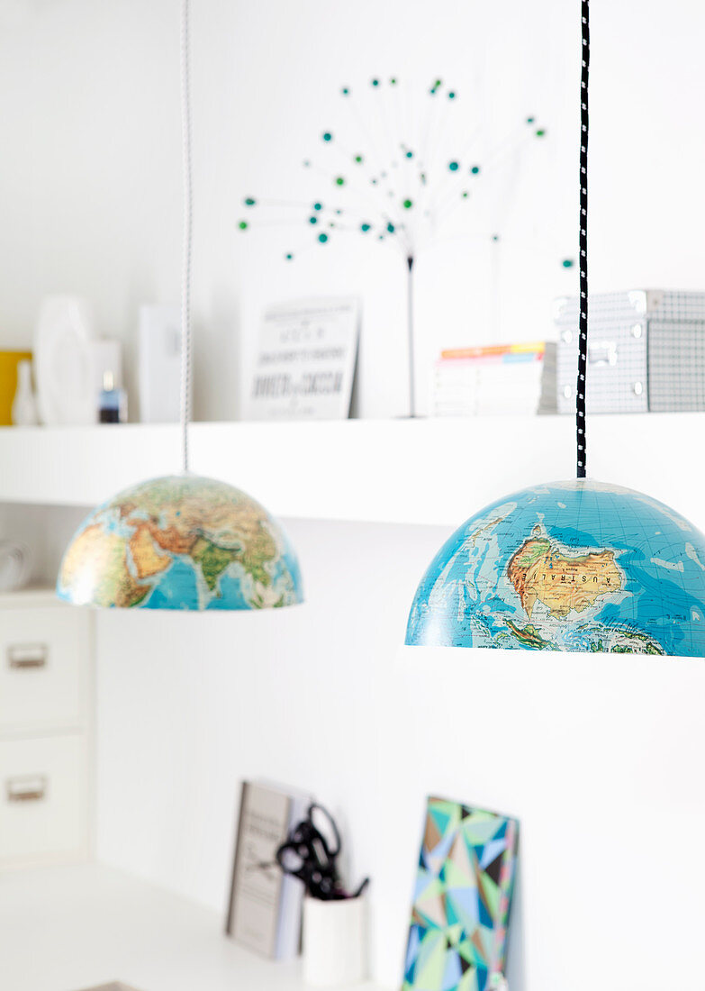 Lampshades made from halves of globe
