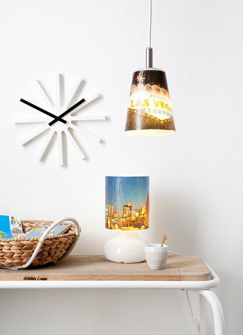 Lampshades covered with holiday photos