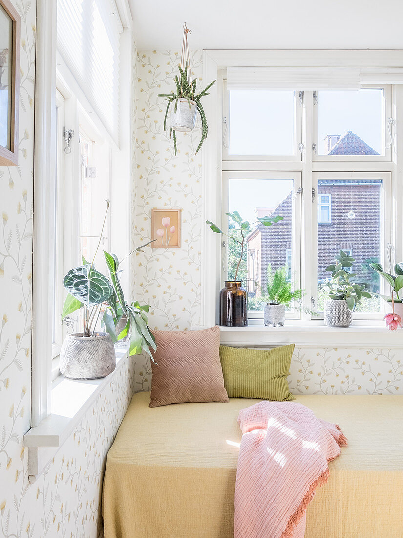 Couch below window in sunny seating area