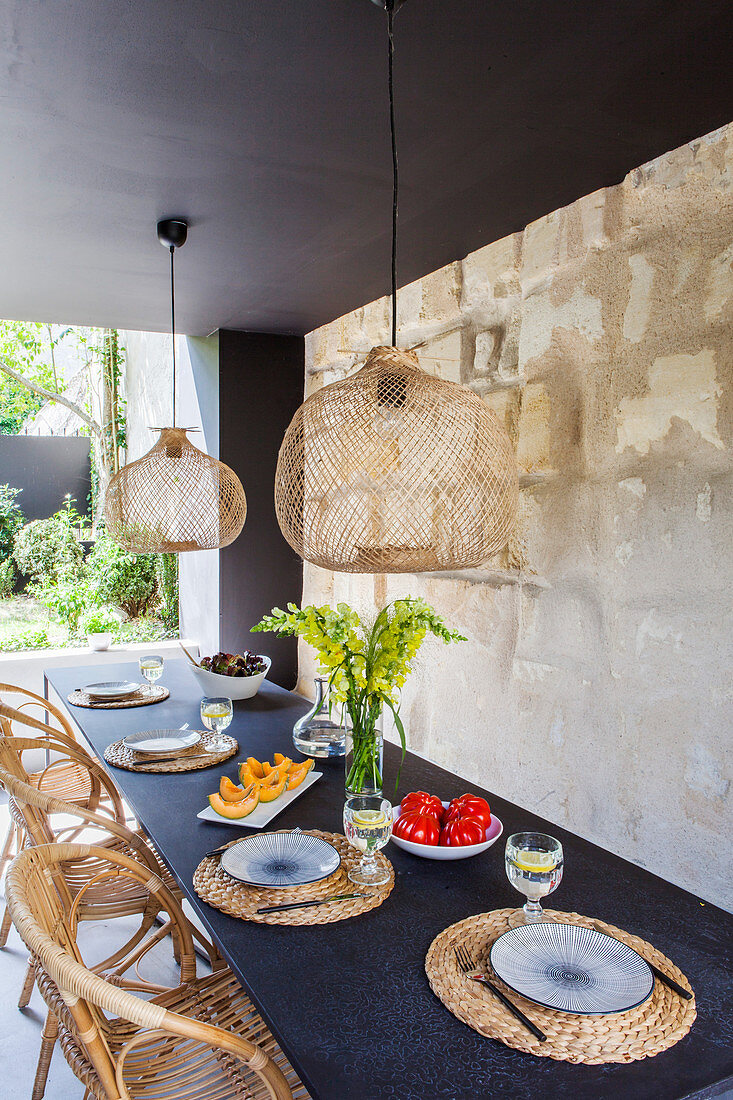 Roofed dining area on terrace