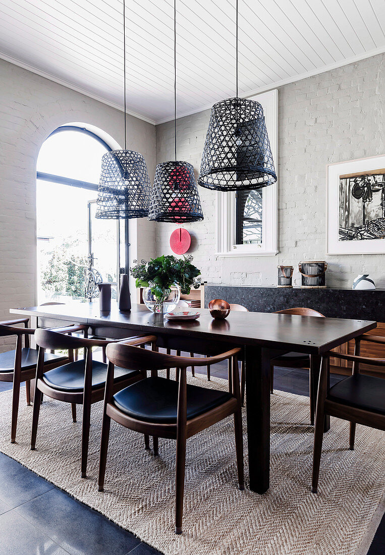 Dark Dining Table With Chairs Hanging Buy Image 12531347 Living4media