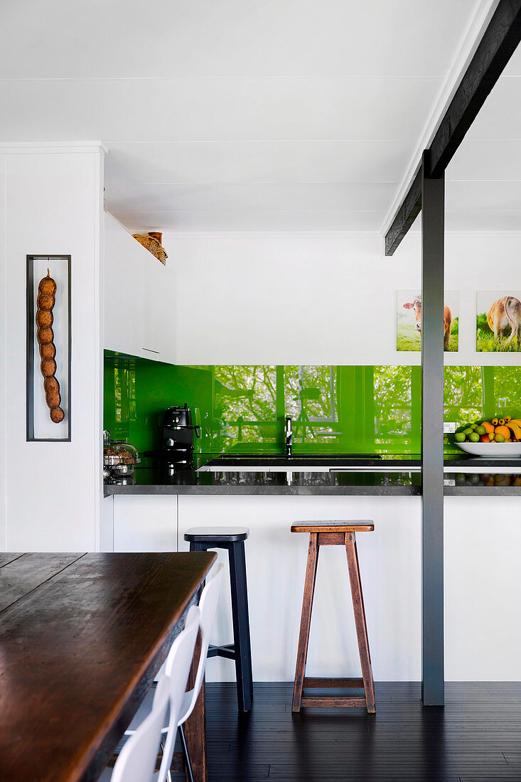 Fitted Kitchen With Green Back Wall Bar Buy Image 12532707 Living4media
