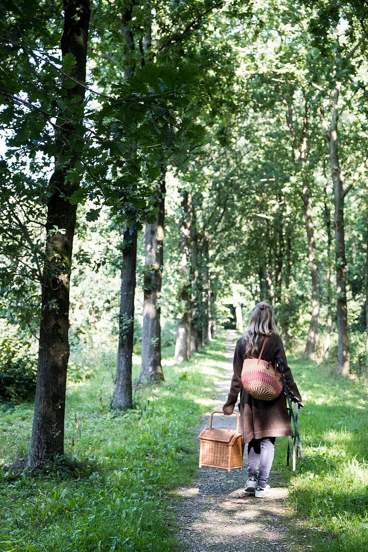 Women carrying picnic basket through trees
