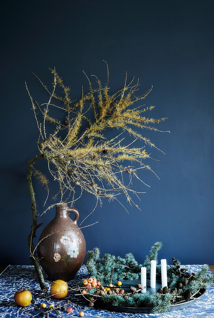 Festive arrangement of natural materials with larch branch against blue wall