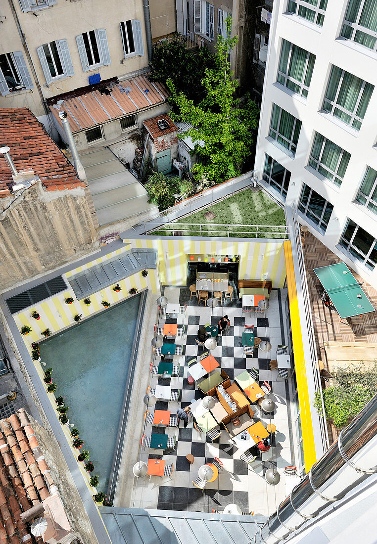 View down onto restaurant on roof terrace