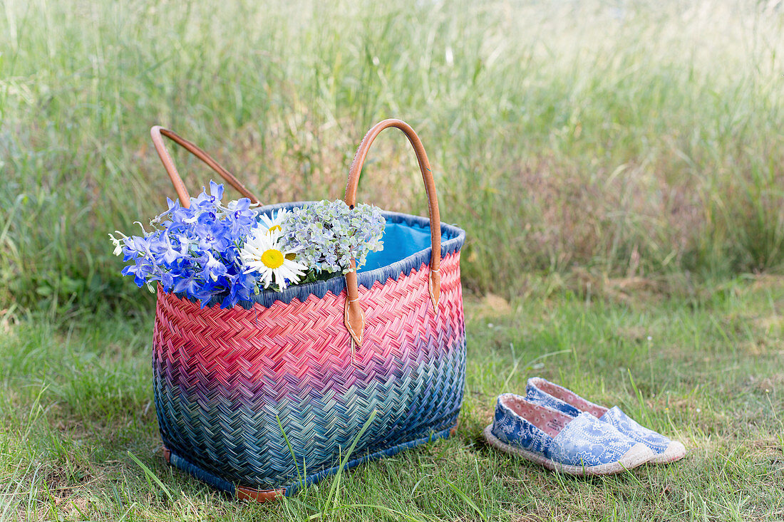 Flowers in colourful basket and shoes on lawn