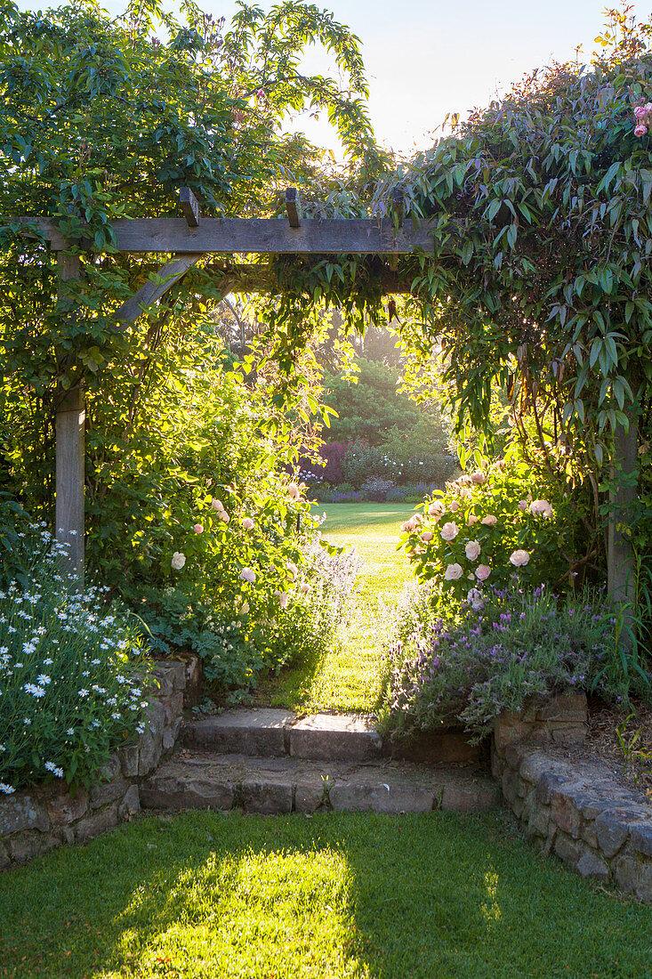 Wooden trellis in a landscaped garden