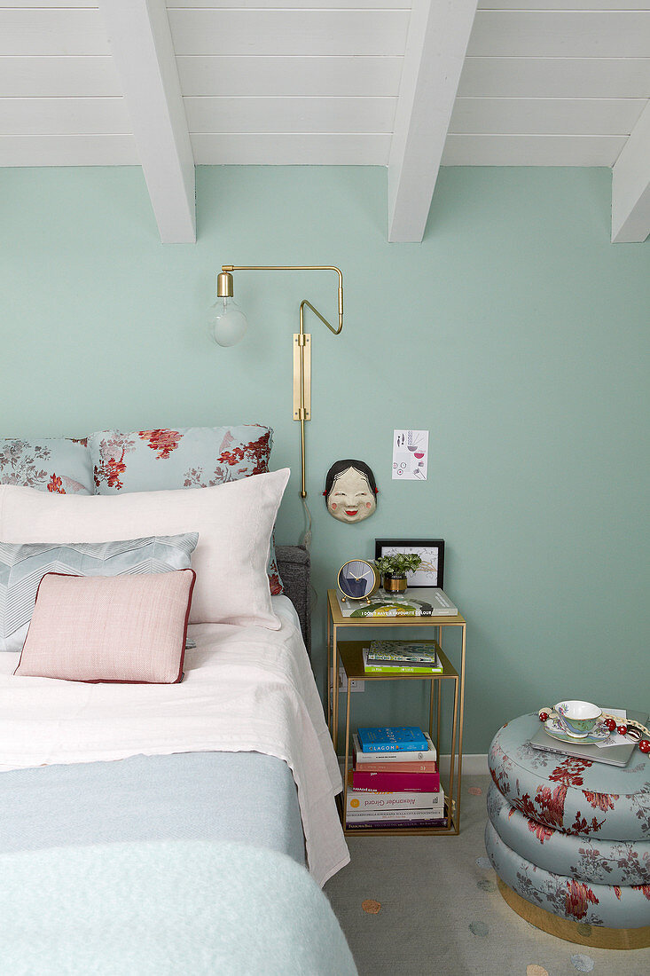 Double Bed In Bedroom With Mint Green Buy Image 12551947 Living4media