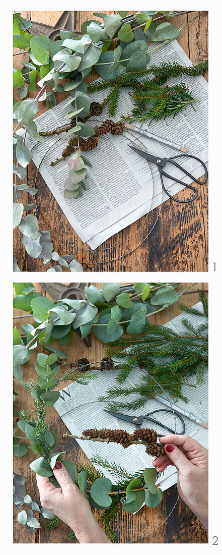 Instructions for making a minimalist Christmas wreath