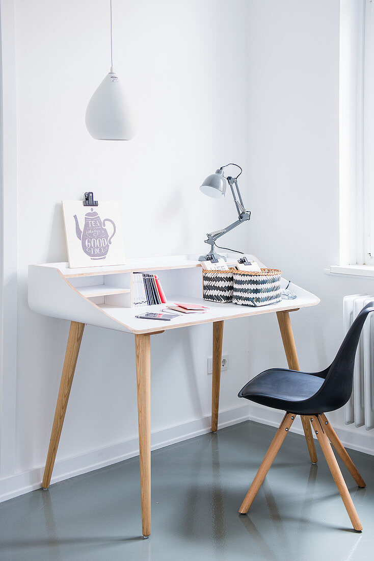 White desk and classic chair