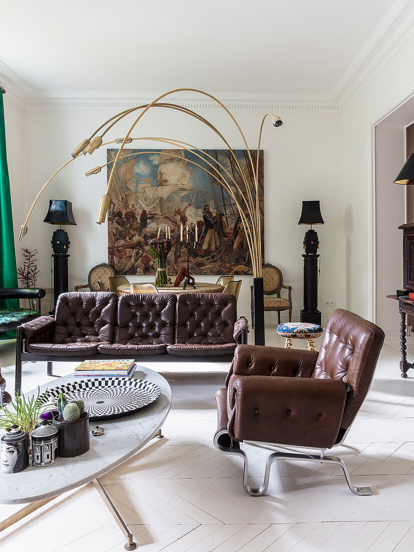Picture of: Brown Leather Sofa Set And Italian Buy Image 12566507 Living4media