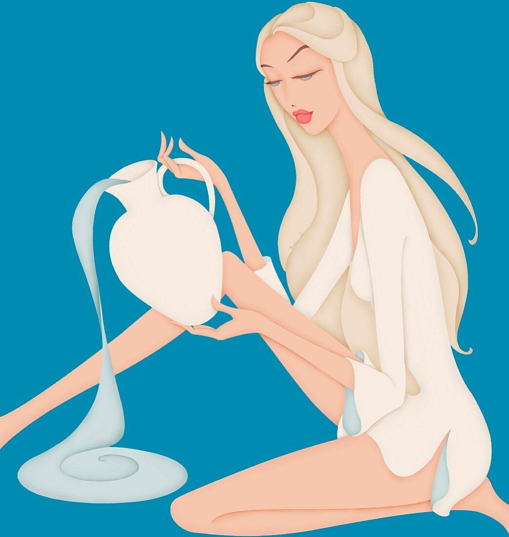 Beautiful woman pouring water posing as astrology sign Aquarius